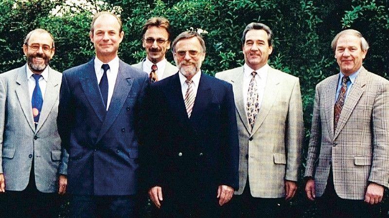 Ein Gruppenbild von Erwin Wieland, Gerhard Krone, Karl Knab, Hans-Peter Müller, Franz Beer und Karl Glatzmaier